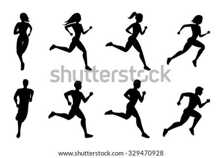 Running people silhouettes - stock photo