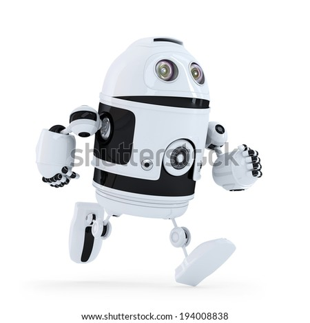 Running robot. Isolated on white. Contains clipping path