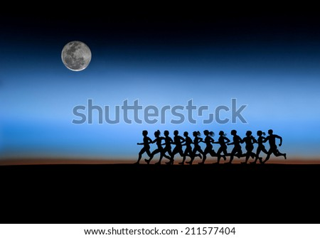 running runners in the morning. - stock photo