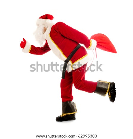 Running Santa isolated over white - stock photo