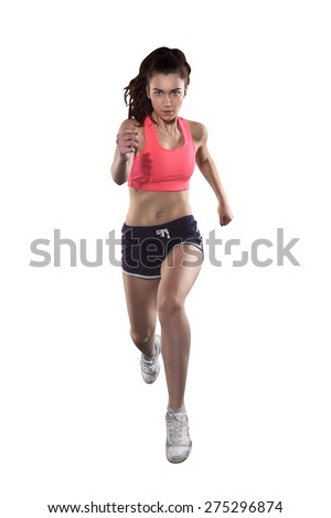 running sexy woman isolated on white background, front view - stock photo