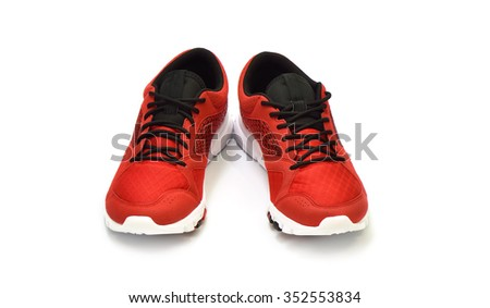 Running shoe, sneaker or trainer on white background. - stock photo