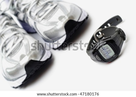 Running shoes and sport watch