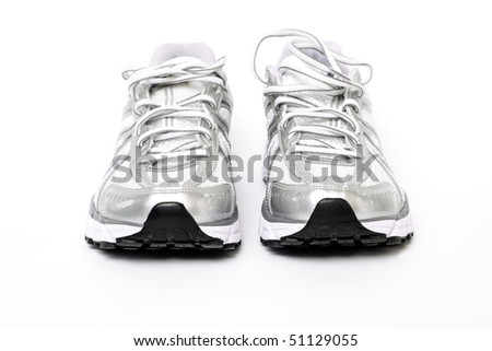 Running shoes ready to workout on white background