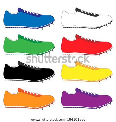 Running Shoes with Spikes in Different Colours Blue White Green Red Black Yellow Orange Purple