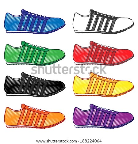 Running Shoes with Stripes in Different Colors Blue White Green Red Black Yellow Orange Purple Pencil Style  - stock photo