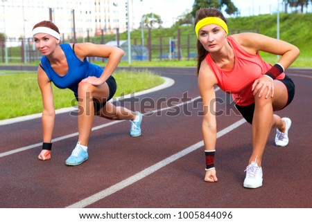 Running Start Sports And Athletics Beautiful Caucasian Girl Europeans Outdoor Exercise