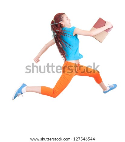 running student girl with books, full length, white backgrund