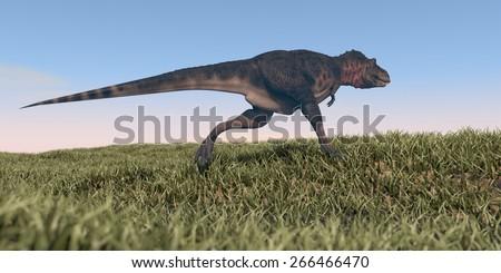 running tarbosaurus - stock photo