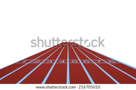 Running track and start position isolated on white background. - stock photo