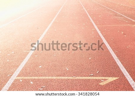 Running Track At A Sport Stadium , highkey effect - stock photo