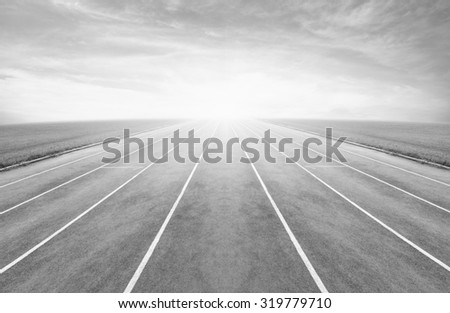 Running track  , black and white - stock photo