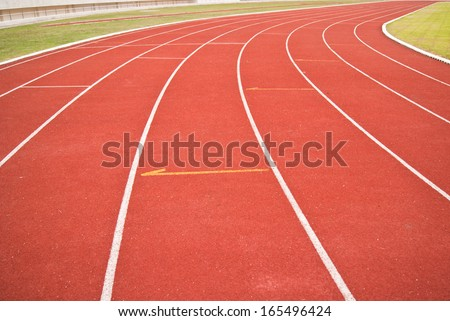 Running track bright day - stock photo