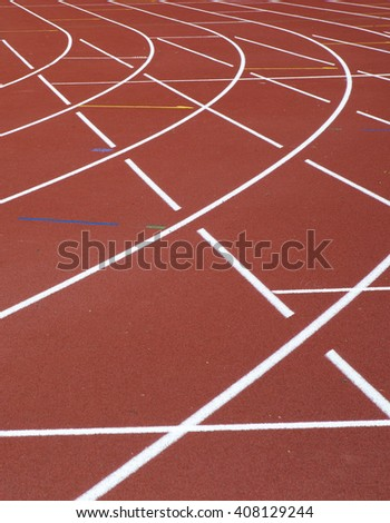 Running track curve. The track is recently renewed. - stock photo