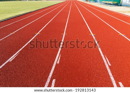 Running track for athletics and competition in the morning.