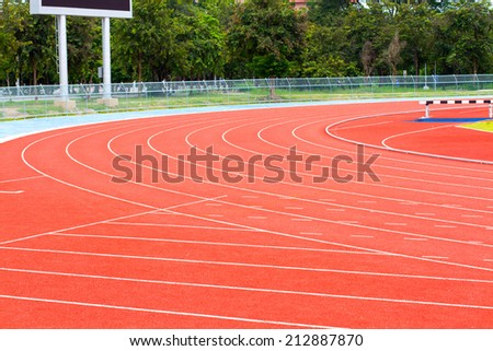 Running track for athletics and sport - stock photo