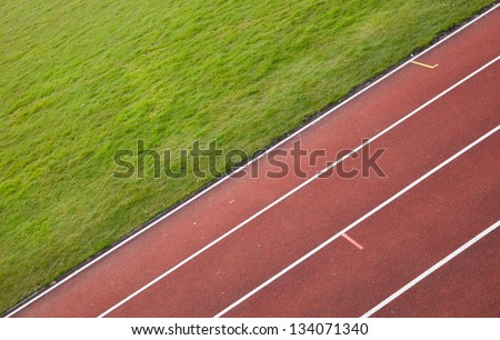 running track in a stadium - stock photo