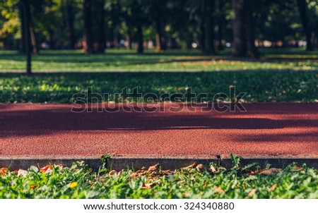 Running track in the park - stock photo