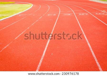 running track in the stadium - stock photo