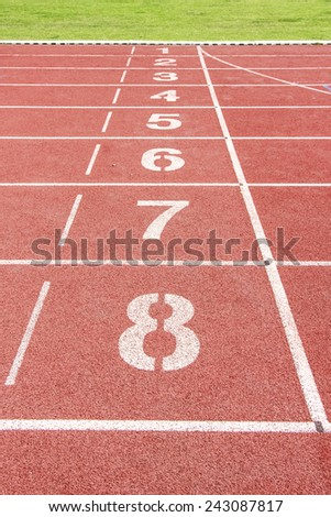 Running track number in stadium.