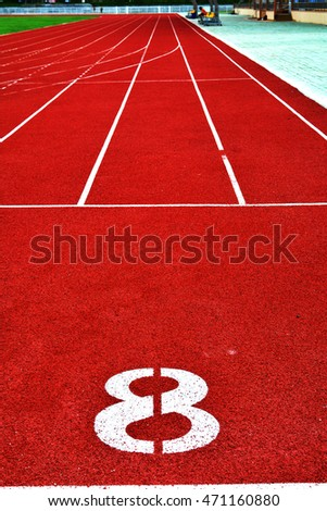 Running track number on stadium