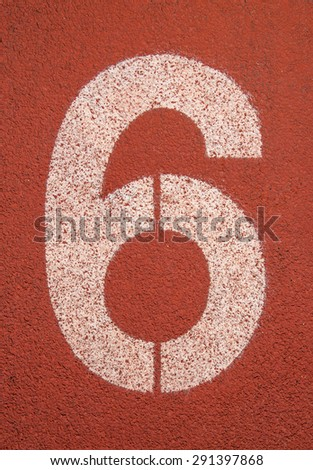 Running track number six background - stock photo