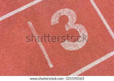 Running track numbers three