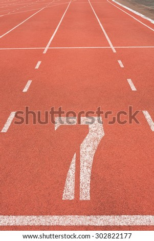 Running track on sport stadium number seven
