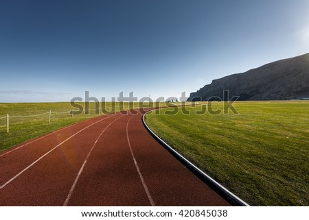 Running track outdoors - stock photo