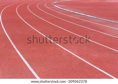 running track, sport field. - stock photo