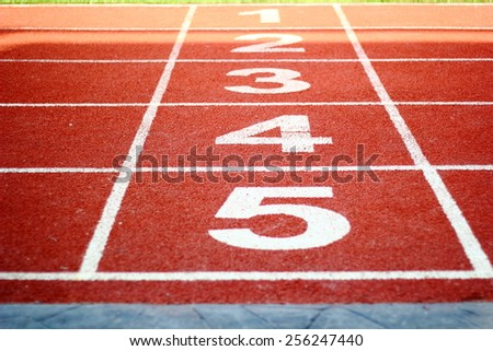 running track start and finish line, sport background/Running Track. - stock photo