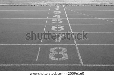 Running track. Start and finish point of running track. Black and white color. - stock photo