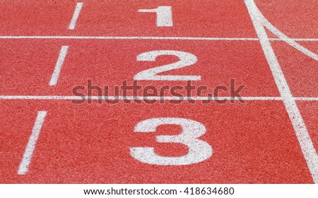 running track, start and number line