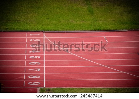 Running track, start point - stock photo