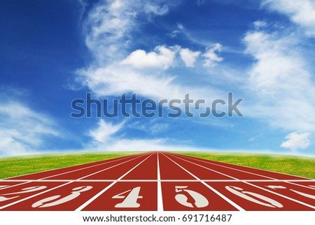Running track with blue sky