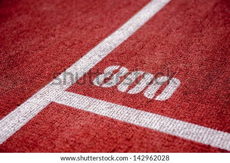 Running track with 800m mark - stock photo