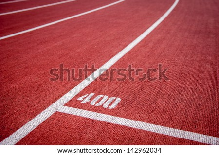 Running track with 400m mark - stock photo