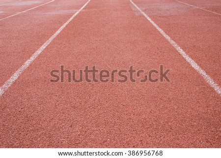 Running track with narrow dept of field