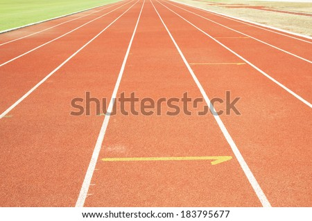 Running track with white line texture background.