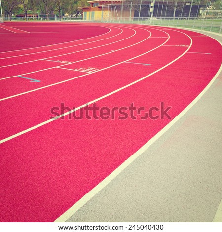 Running Tracks on the Stadium in  Switzerland, Instagram Effect - stock photo