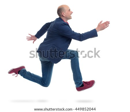 running trendy man isolated on white background