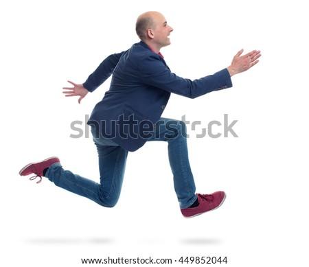 running trendy man isolated on white background - stock photo