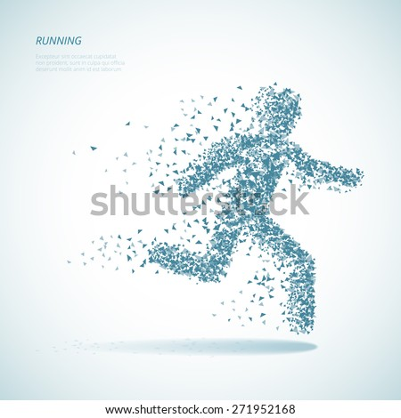 Running triangular man pictogram. Symbol and shape, template for poster or banner - stock photo
