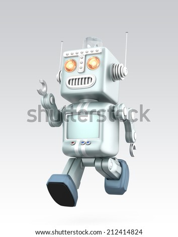 Running vintage robot isolated on gray background - stock photo