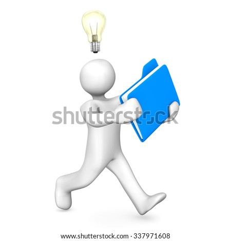 Running white cartoon character with blue file on the white. 3d illustration.  - stock photo