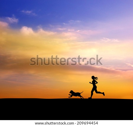 Running woman and dog. - stock photo