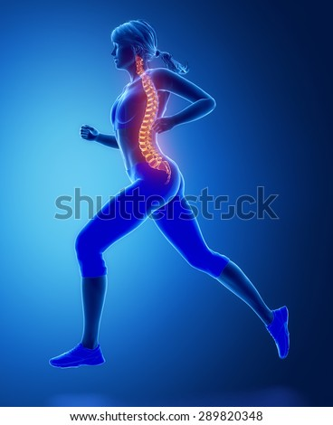 Running woman spine problem concept - stock photo