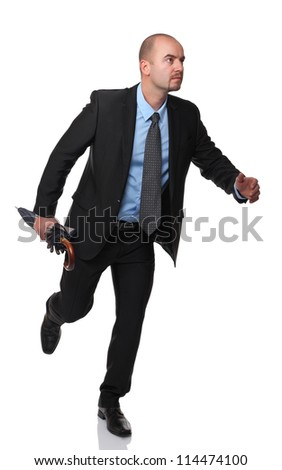 running worker with umbrella on white - stock photo