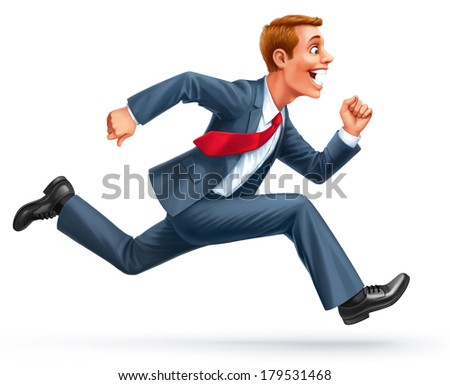 running young businessman excited surprised happy amazed smile isolated on white background illustration - stock photo