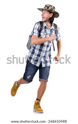 Running young traveller with backpack isolated on white - stock photo